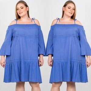 Dresses & Skirts - LAVENDER PLUS SIZE TIE-SHOULDER BOHO MINI DRESS